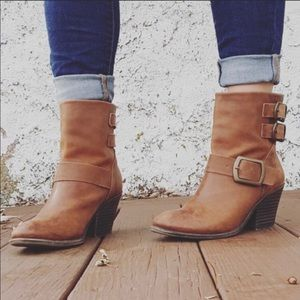 Lucky Brand Chestnut Brown Buckle Heeled Boots